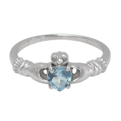 Rhodium Plated Sterling Silver Claddagh with Blue Topaz Ring (Size 7)