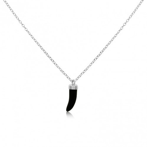 Sterling Silver Italian Horn Onyx Necklace