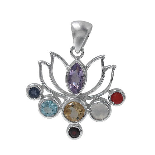 Rhodium Plated Sterling Silver Lotus Flower Chakra Pendant with multi-stones