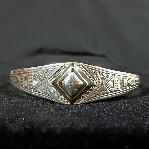 "Sterling Silver ""Tadia"" Diamond Detailed Cuff Bracelet"