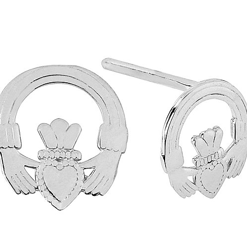 10K White Gold Mini Claddagh Earrings