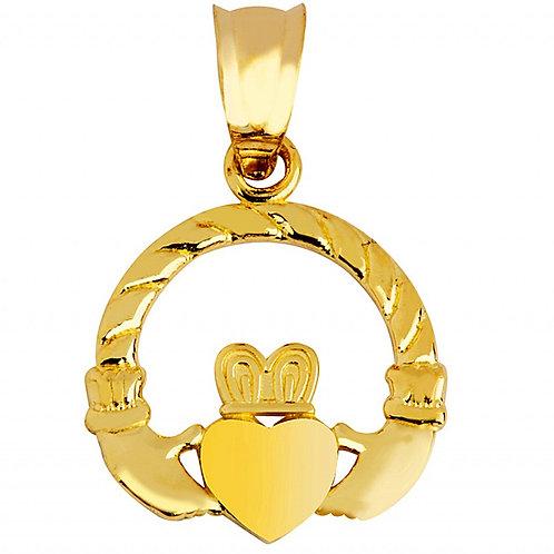 10K Yellow Gold Claddagh Irish Pendant