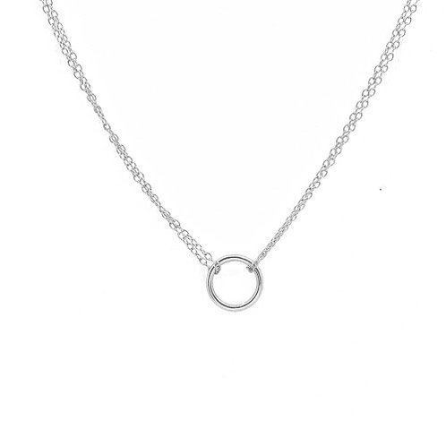 Sterling Silver Double Chain Karma Circle Necklace