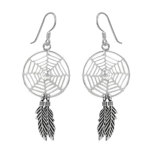 Sterling Silver Dreamcatcher Earrings with 3mm ball bead