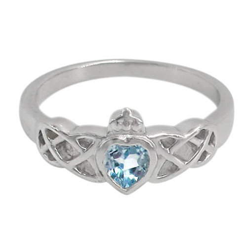 Rhodium Plated Sterling Silver Celtic Knot with Blue Topaz Ring