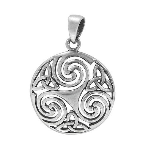 Sterling Silver Triskelion with Triquetra Knot Pendant