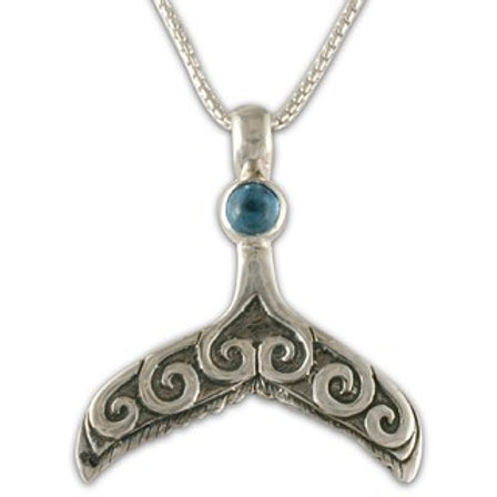 Sterling Silver Whale Tail with Iolite Gemstone Pendant Necklace