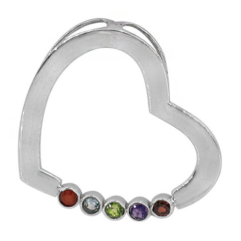 Rhodium Plated Sterling Silver Floating Heart Chakra Pendant
