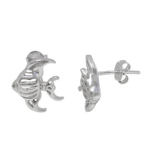 Rhodium Plated Sterling Silver Fish Stud Earrings