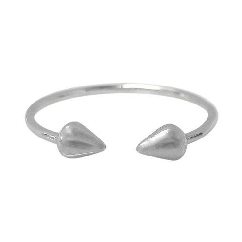 Rhodium Plated Sterling Silver Arrow Head Ring (Size 7) Adj
