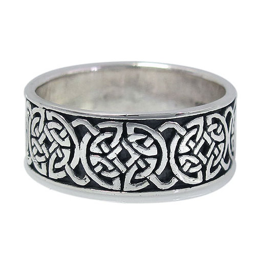 Sterling Silver Unisex Ring with Celtic Knots (Size 10)