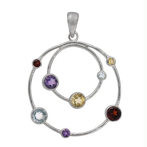 Rhodium Plated Sterling Silver Circle Chakra Pendant w/ multi-stones