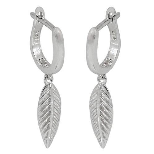 Rhodium Plated Sterling Silver Leaf Earrings