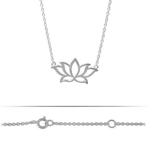 Rodium Plated Lotus Pendant Necklace