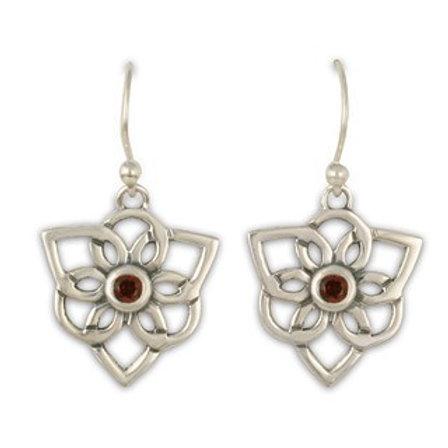 Sterling Silver Trillium with Garnet Gemstone Earrings