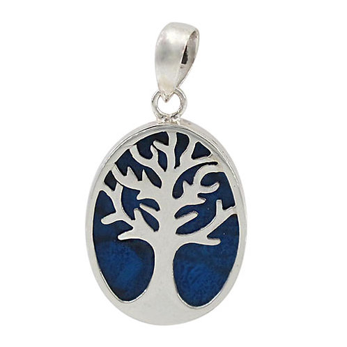 Sterling Silver with Blue Sponge Coral Tree of Life Oval Pendant