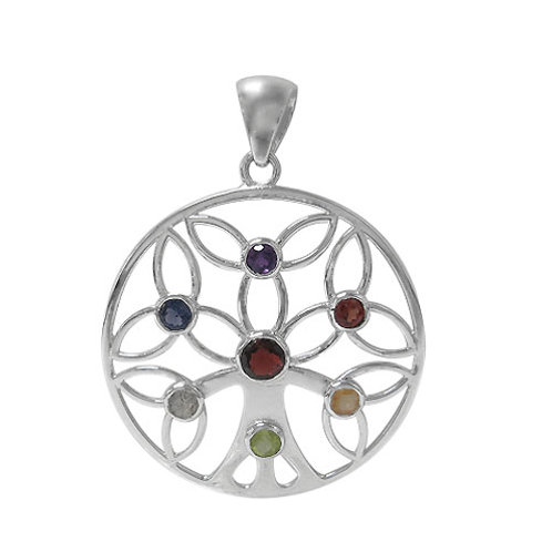 Rhodium plated Sterling Silver Tree of Life Chakra Pendant with Multi-Stones