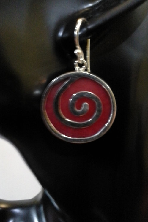 Sterling Silver Spiral design with Sponge Coral Earrings