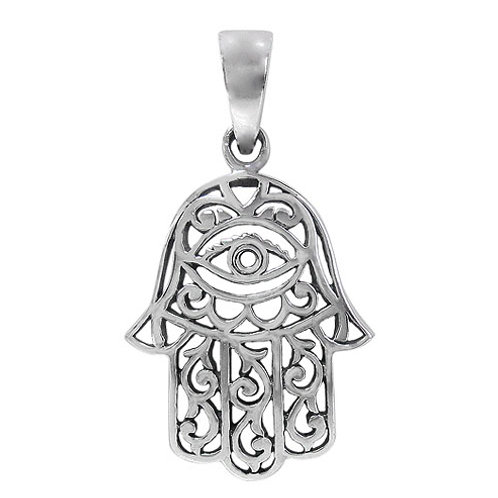 Sterling Silver Hamsa Hand with Evil Eye Amulet Pendant