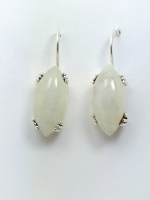 Sterling Silver with Moonstone Marquise Earrings