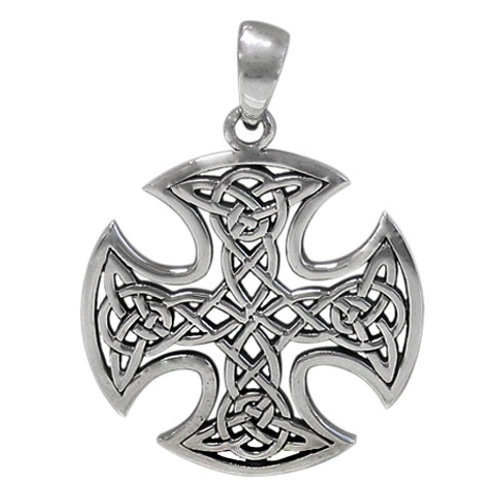 Sterling Silver Cross with Celtic Knot Pendant