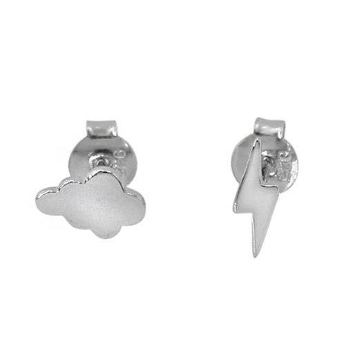 Rhodium Plated Sterling Silver Thunder & Lightning Stud Earrings