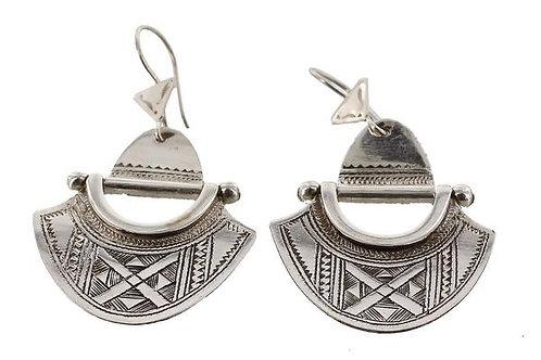 Fine Silver Hinged Tuareg Semi-Circular Earrings