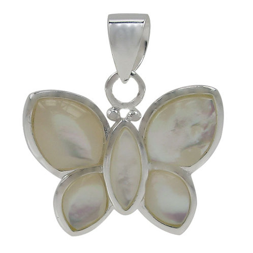 Sterling Silver Butterfly with Mother of Pearl Pendant
