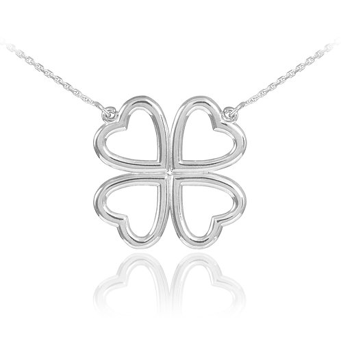 Sterling Silver Four Leaf Heart Clover Pendant Necklace 16""