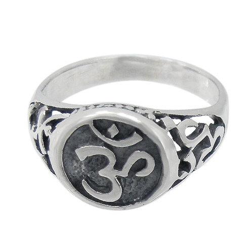 Sterling Silver Men's Om Ring (Size 12)
