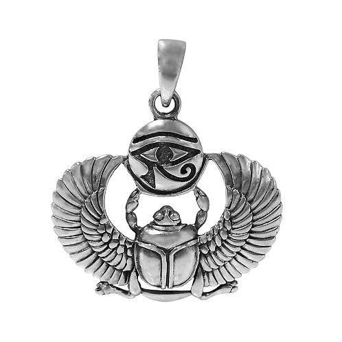 Sterling Silver Egyptian amulet Eye of Horus & Scarab Pendant