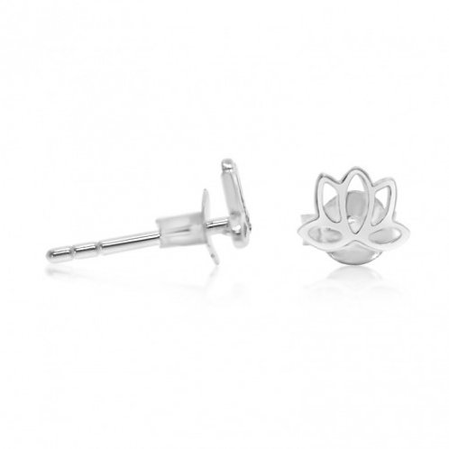 Sterling Silver Lotus Stud Earrings