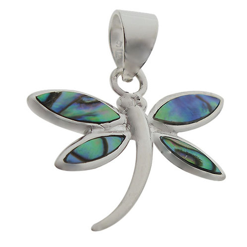 Rhodium Plated Sterling Silver Dragonfly with Abalone Pendant