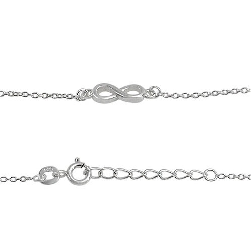 Sterling Silver Infinity Anklet (Made in Italy)