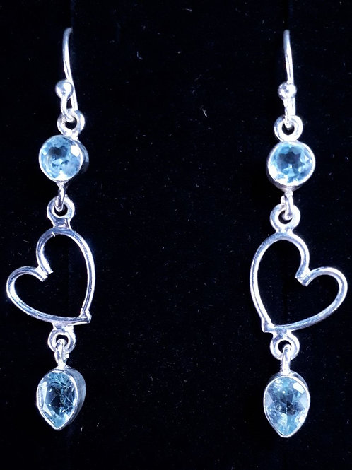 Sterling Silver Heart Detail Earrings with Blue Topaz