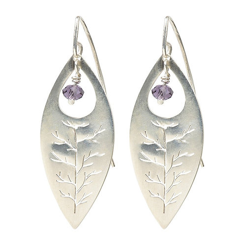 Sterling Silver with Amethyst Gemstone Ellipse Earrings