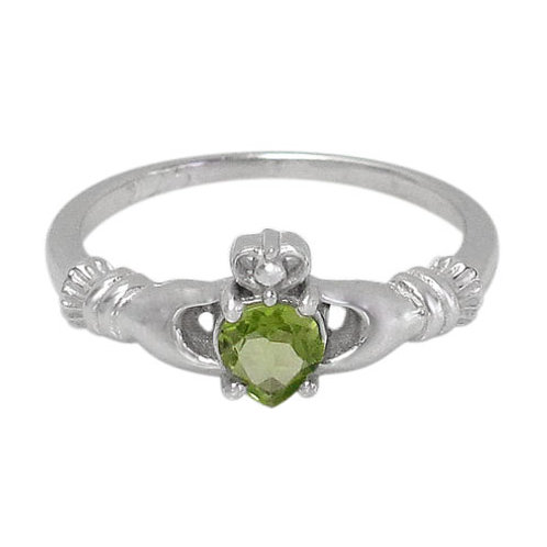 Rhodium Plated Sterling Silver Claddagh with Peridot Ring (Size 7)