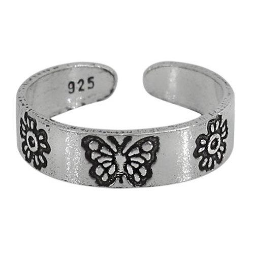 Sterling Silver Butterfly & Flower Toe Ring