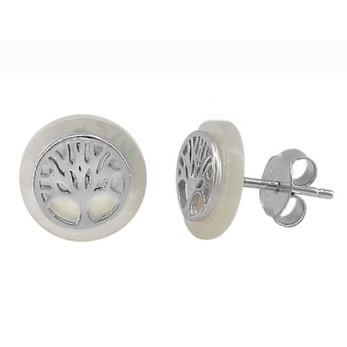Rhodium Plated Sterling Silver Mother of Pearl Tree of Life Earrings