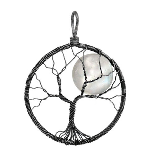 Black Rhodium Plated Sterling Silver with Moonstone Tree of Life Pendant