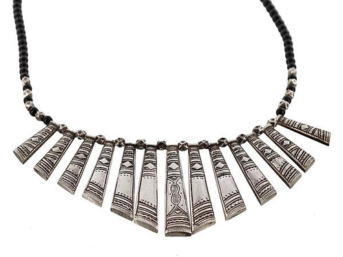 Fine Silver Tuareg Variagated Panels Necklace