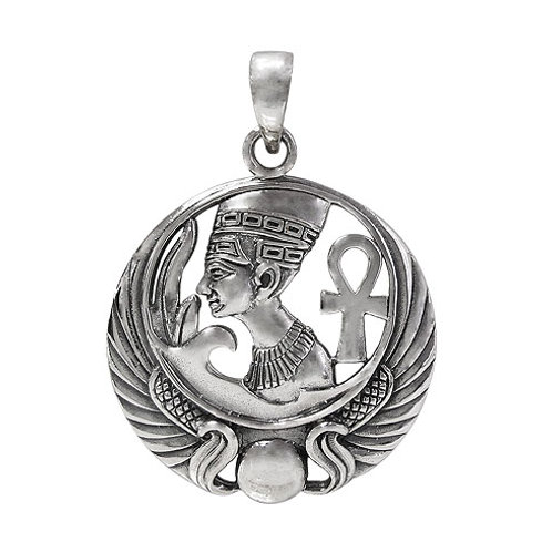 Sterling Silver Egyptian Queen & Ankh Pendant
