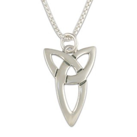 Sterling Silver Large Trinity Pendant Necklace