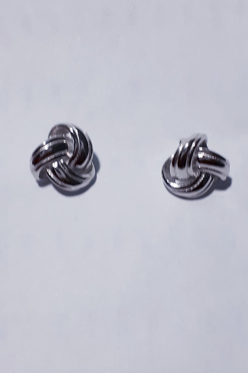 Rhodium Plated Sterling Silver Love Knot Stud Earrings
