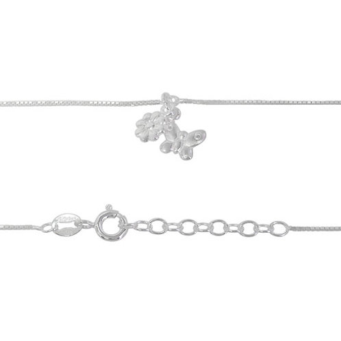 Sterling Silver Butterfly & Flower Anklet (Made in Italy)
