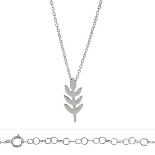 Rhodium Plated Sterling Silver Leaf Pendant Necklace