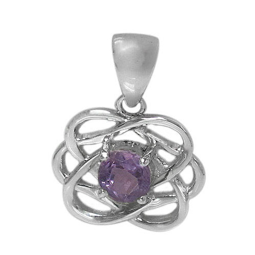 Sterling Silver Celtic Knot with Amethyst Pendant