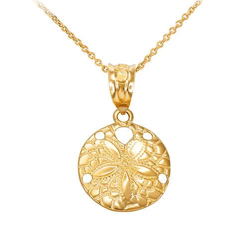 10K Yellow Gold Round Sand Dollar Pendant
