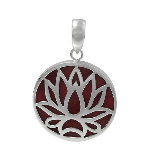 Sterling Silver Lotus Flower with Sponge Coral Round Pendant