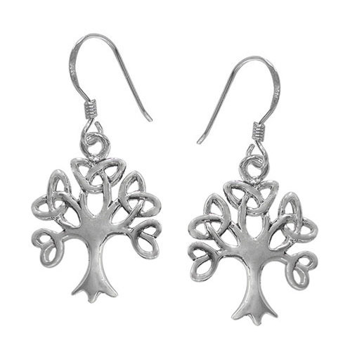 Sterling Silver Celtic Tree with Triquetra Knots Earrings
